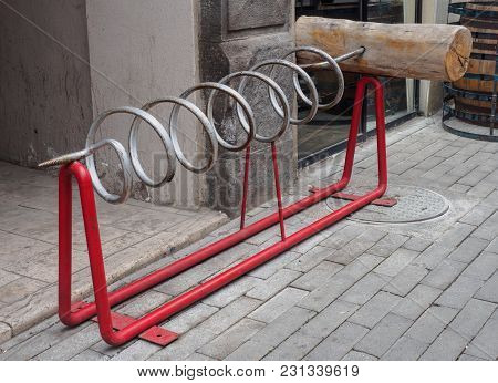 Parking For A Bicycle In The Form Of A Corkscrew In Georgia.