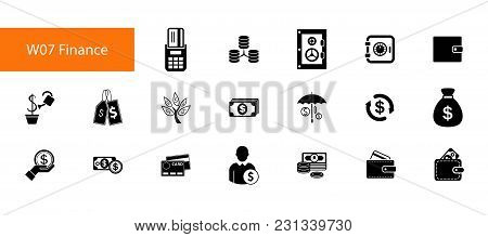 Finance And Budget Icon Set. Can Be Used For Topics Like Salary, Wages, Benefit, Making Money, Inves