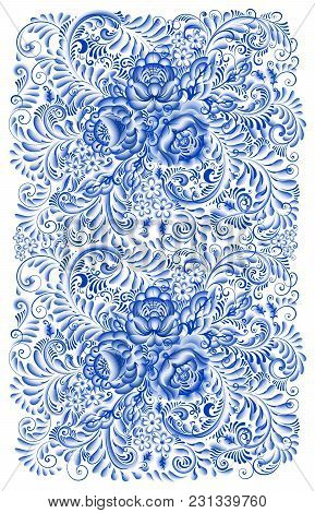Russian Traditional Ornaments Gzhel Style Painted With Blue On White. Flowers Ans Scrolls, Elegant I