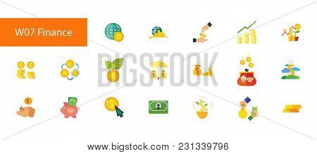 Nineteen Finance Flat Vector Icons Collection On White Background. Can Be Used For Topics Like Money