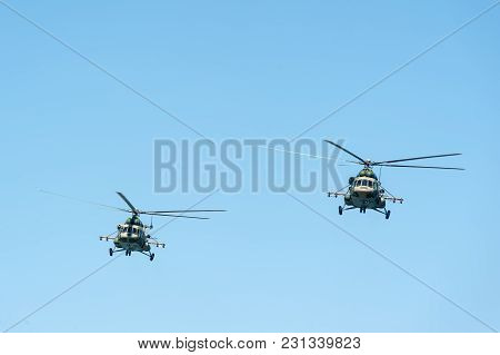 Tyumen, Russia - July 1, 2017: Army Games. Engineering Formula Contest. 2 Military Helicopter Mi-8 I