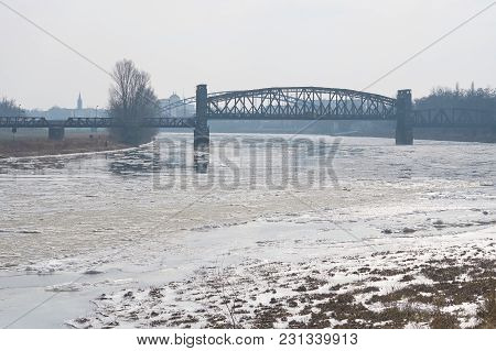 The River Elbe Near Magdeburg With The Lift Bridge In Winter