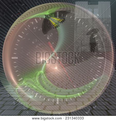 Time Travel, Butterfly Effect. Abstract Background For Projects Related To Science Fiction.