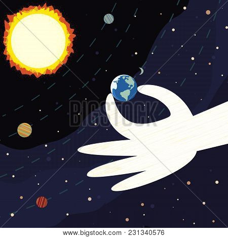 International Mother Earth Day Concept. Planet From Space Colorful Cartoon. Globe In Human Hand. Eco