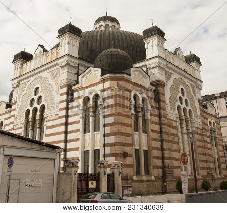 Sofia, Bulgaira - October 09, 2017: Synagogue Of Sofia Built In 1909 Year