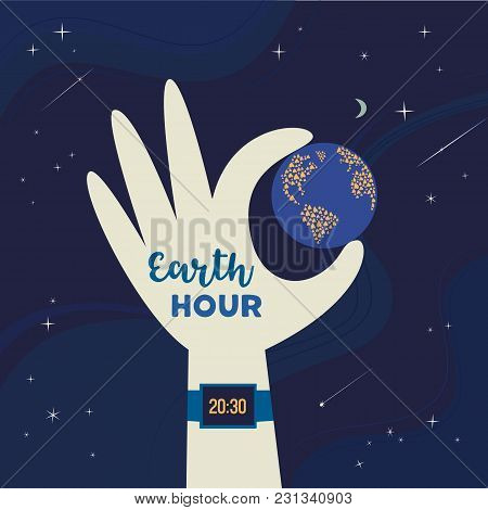 Earth Hour Day Concept. Stop Polluting The Globe. Support Promise For Planet Actions, Change Global