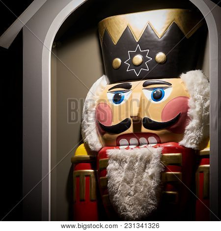 Nutcracker As A Decoration On A Christmas Market In Germany