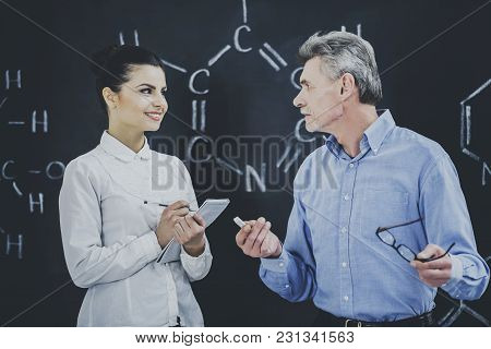 Professor Of Chemistry Leading Lecture In University.