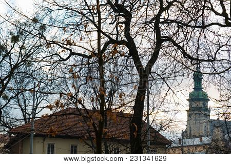 Old Church Tower In Front Of Tree Without Leaves. Autumn Season.