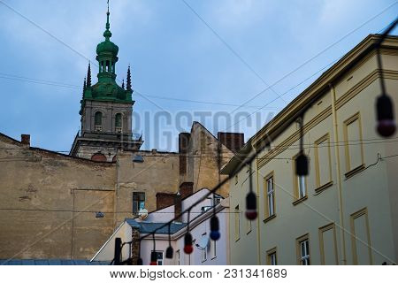 Tower Of Old Church Above European City