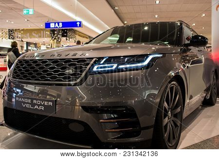 Frankfurt Am Main, Germany - February 27 2018: Land Rover Velar At The Frankfurt International Airpo