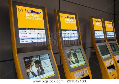 Frankfurt, Germany - February 27 2018 : Lufthansa Self Check In Automated Machines At The Airport In