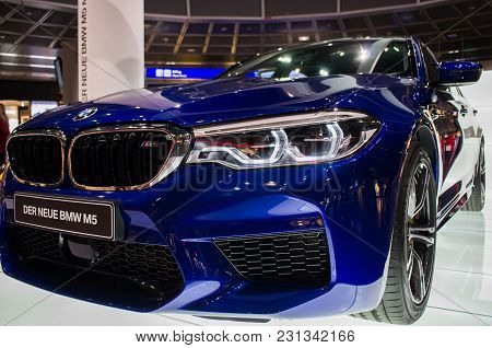 Frankfurt Am Main, Germany - February 27 2018 : Bmw M5 Car For Display At The Airport In Frankfurt A