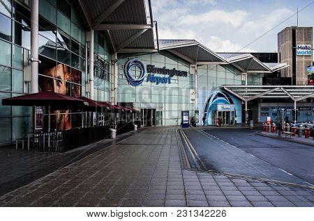 Birmingham, United Kingdom - February 27 2018 : View Of Birmingham Airport Building From Outside In