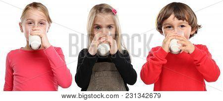Children Little Girl Boy Child Drinking Milk Kid Glass Healthy Eating Isolated On White