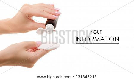 Tonic Lotion For The Face With A Cotton Pad In The Hand Pattern On A White Background Isolation