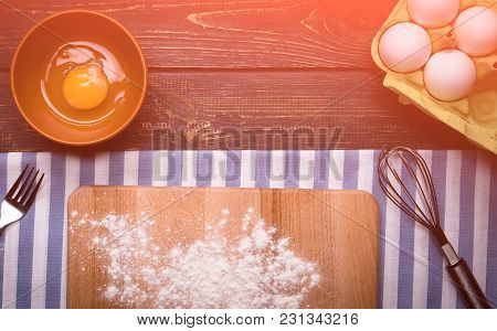Cooking Pie, Preparing Ingredients. On A Wooden Background