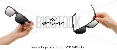Sunglasses Black In Hand Set Pattern On White Background Isolation