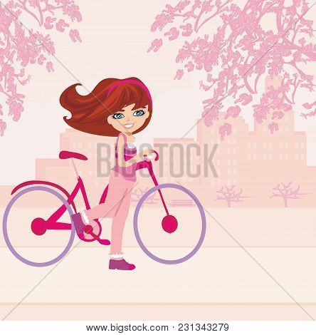 Happy Young Girl With Bicycle , Vector Illustration