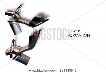 Black Female Shoes Sandals Pattern On A White Background Isolation