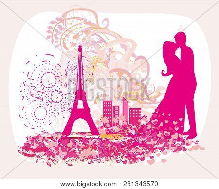 Romantic Couple In Paris - Abstract Card , Vector Illustration