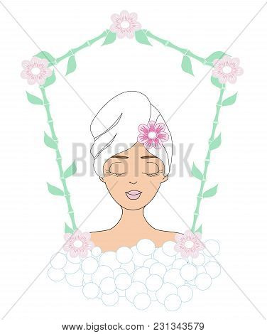 Beautiful Woman In Spa Card , Vector Illustration