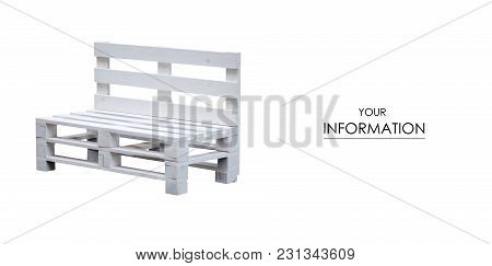 Bench Wooden White Pallets Pattern On White Background