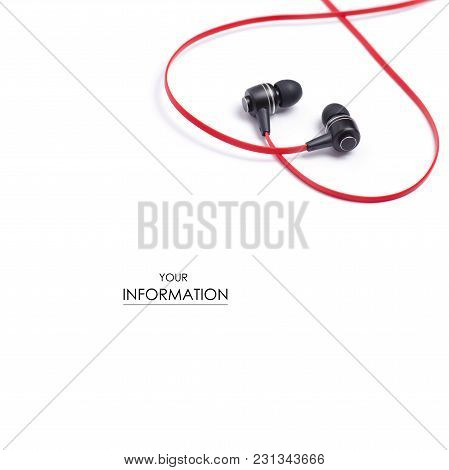 Headphones Red Music Pattern On White Background Isolation