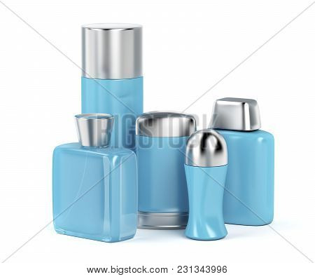 Men's Cosmetic Products On White Background