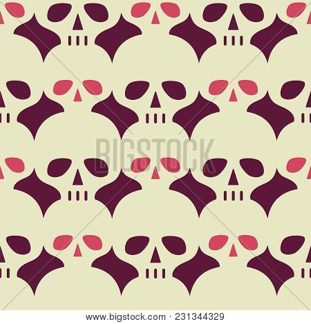 Colorful Seamless Vector Pattern With Skulls. Vintage Vector Background.