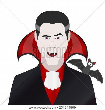 Cartoon Character. Avatar Symbol. Vampire With Bat. Vector Illustration