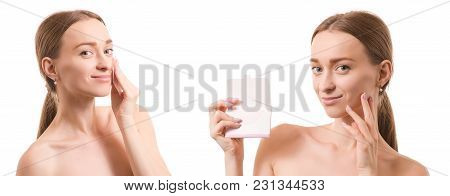 Beautiful Young Woman Beauty Matting Napkins For Face Set On White Background Isolation
