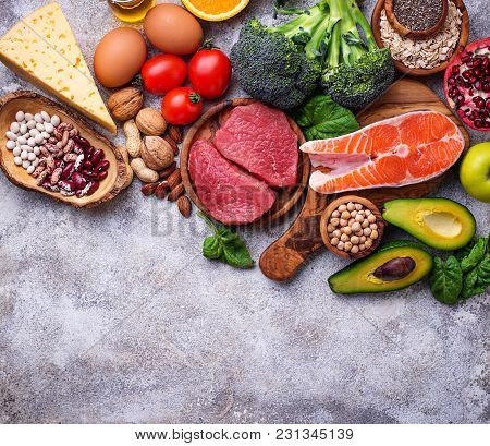 Organic Food For Healthy Nutrition And Superfoods. Balanced Diet. Top View, Copy Space