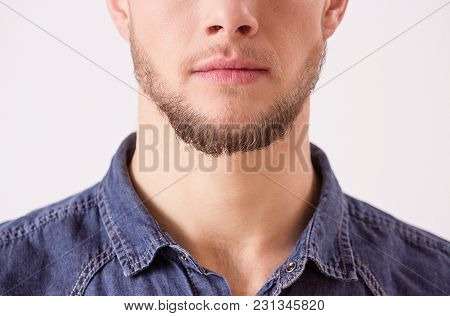 Close Up Of Bearded Hipster's Face