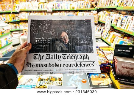 Paris, France - Mar 15, 2018: International Newspaper Daily Telegraph With Portrait Of Stephen Hawki