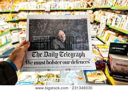Paris, France - Mar 15, 2018: International Newspaper Daily Telegraph With Portrait Of Stephen Hawki
