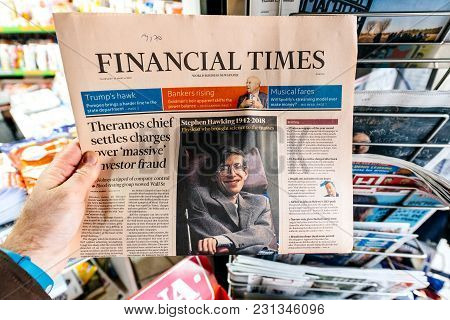 Paris, France - Mar 15, 2018: International Newspaper Financial Times  With Portrait Of Stephen Hawk