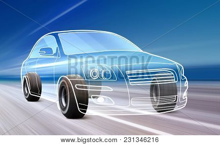 3D illustration of car like outline on road with high speed
