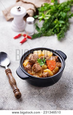 Beef Stew With Potato And Carrot. Selective Focus