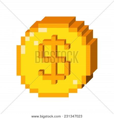 Vector 8 Bit Pixel Art 3d Dollar Icon. Color Concept Of Dollar Currency.