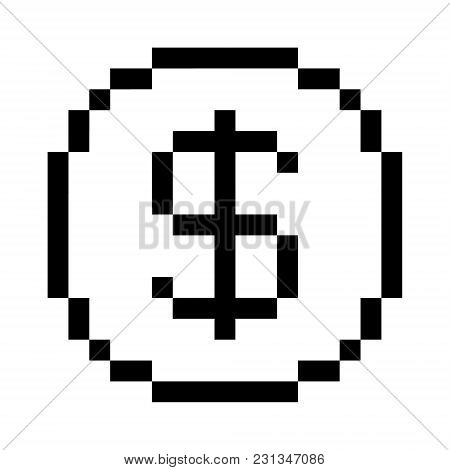Vector 8 Bit Pixel Art Dollar Icon. Black And White Concept Of Dollar Currency.