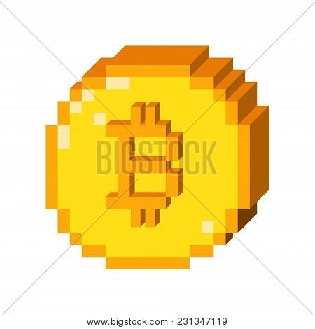 Vector 8 Bit Pixel Art Bitcoin Icon. Color  3d Concept Of Cryptocurrency.