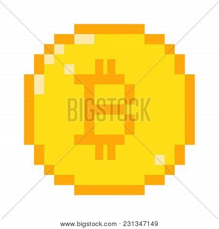 Vector 8 Bit Pixel Art Bitcoin Icon. Color Concept Of Cryptocurrency.