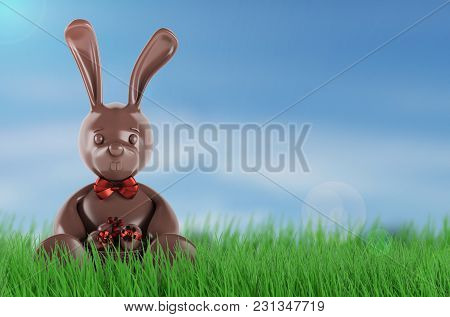 Chocolate Easter Bunny With Eggs And Red Bow-knot. 3d Rendering