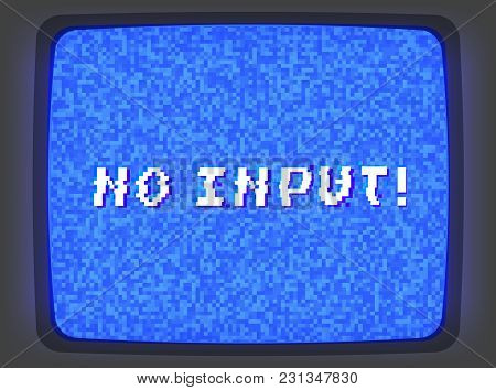 Vector Vhs Blue Intro Screen Of A Videotape Player With Noise Flickering And No Input Phrase. Retro