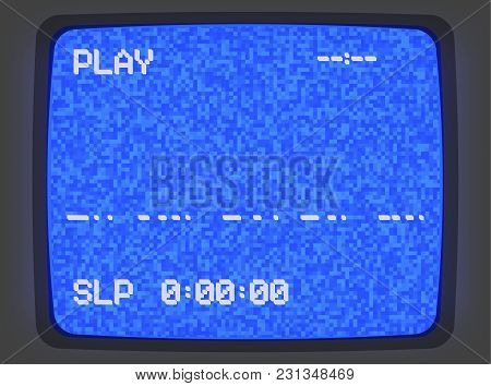 Vector Vhs Blue Intro Screen Of A Videotape Player With Noise Flickering. Retro 80 S Style Vintage B