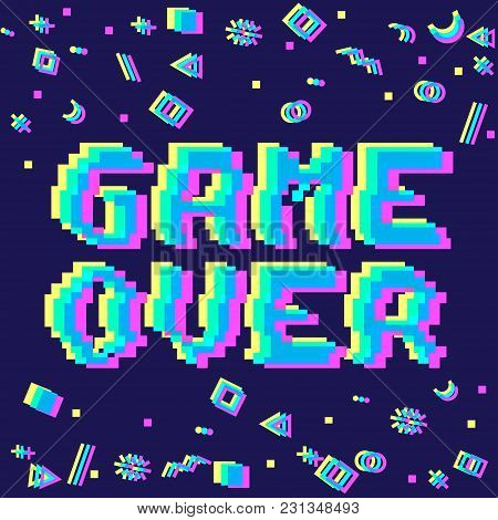 Vector Game Over Phrase In Pixel Art 8 Bit Style With Glitch Vhs Effect. Three Color Half-shifted Le
