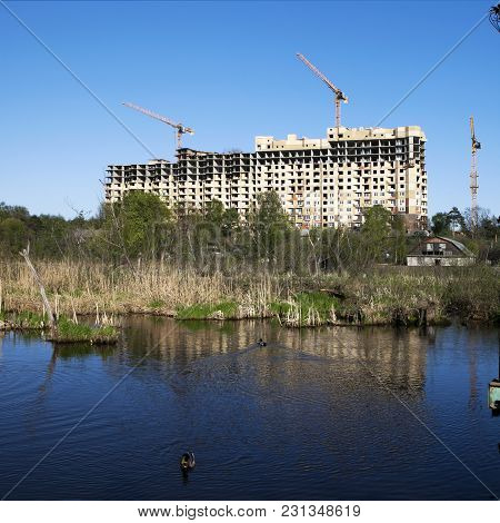 High-rise Buildings, Located On The Edge Of The Wetlands