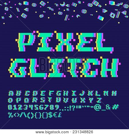 Vector 8-bit Pixel Art English Alphabet With Glitch Vhs Effect. Letters, Numbers And Symbols