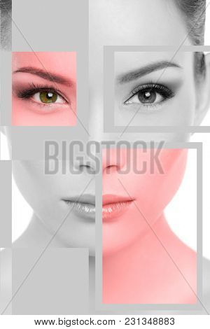 Asian woman face beauty portrait in black and white with red target areas for skin laser therapy facial treatment. Biometrics concept. Square zone shapes on face. Beautiful mixed race chinese model.